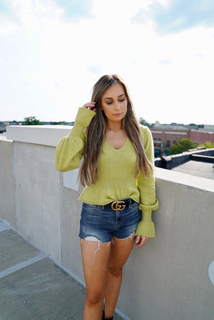 Lime About It Peplum Sweater