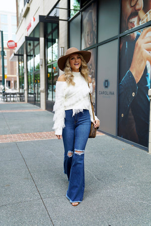 Falling For Fringe Sweater - Ivory