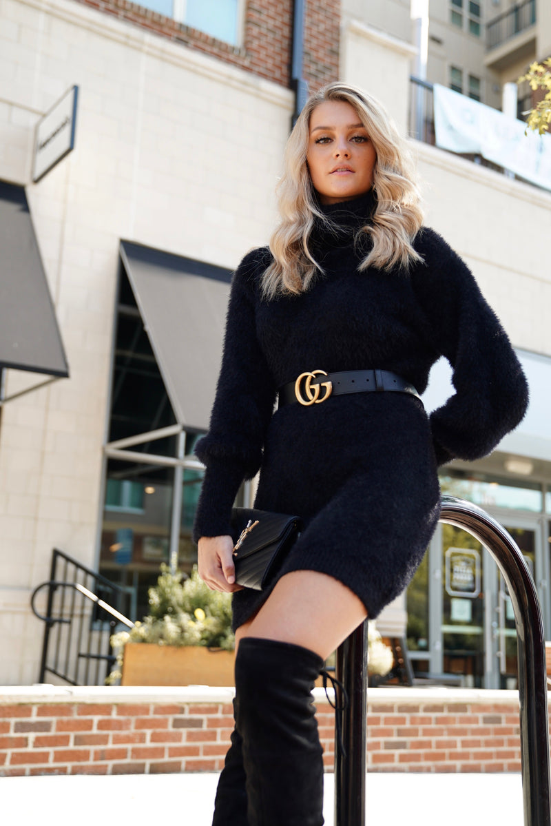 Mohair Sweater Dress - Black
