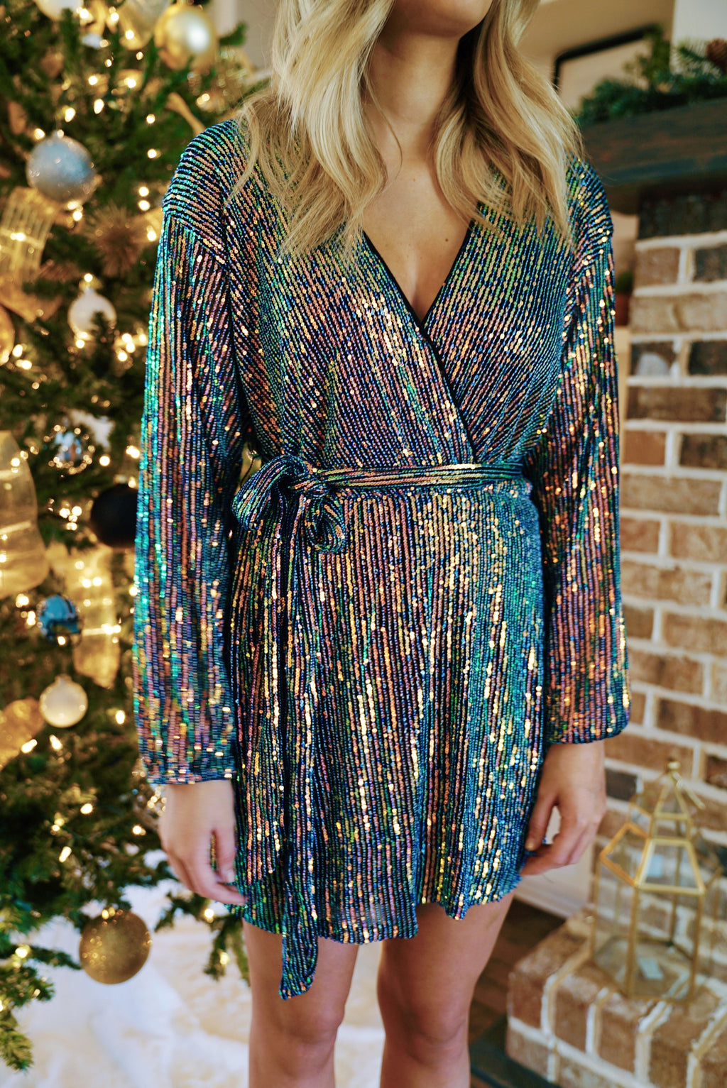 Times Square Sequin Dress - Black Rainbow