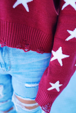 Burgundy Night Star Sweater