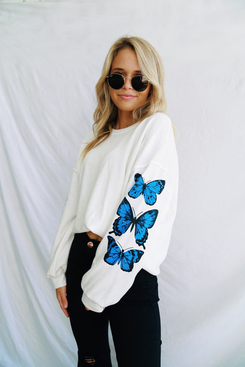 Free Spirit Butterfly Sweatshirt Top