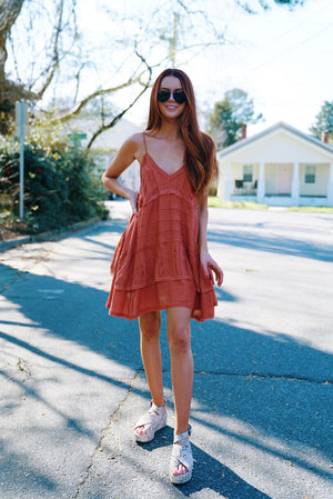 The Lilly Layer Dress - Rust
