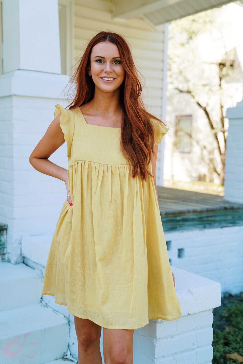 Sunkist Babydoll Dress - Mustard