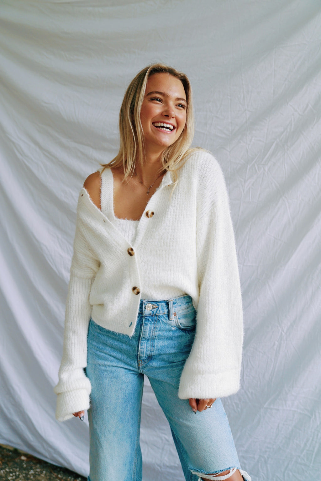 Cozy Cardigan + Crop Top Set-White