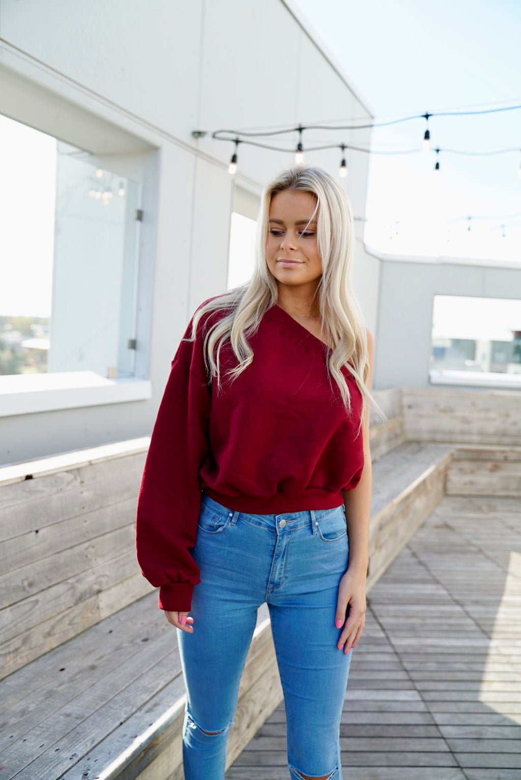 One Shoulder Sweatshirt Top - Wine