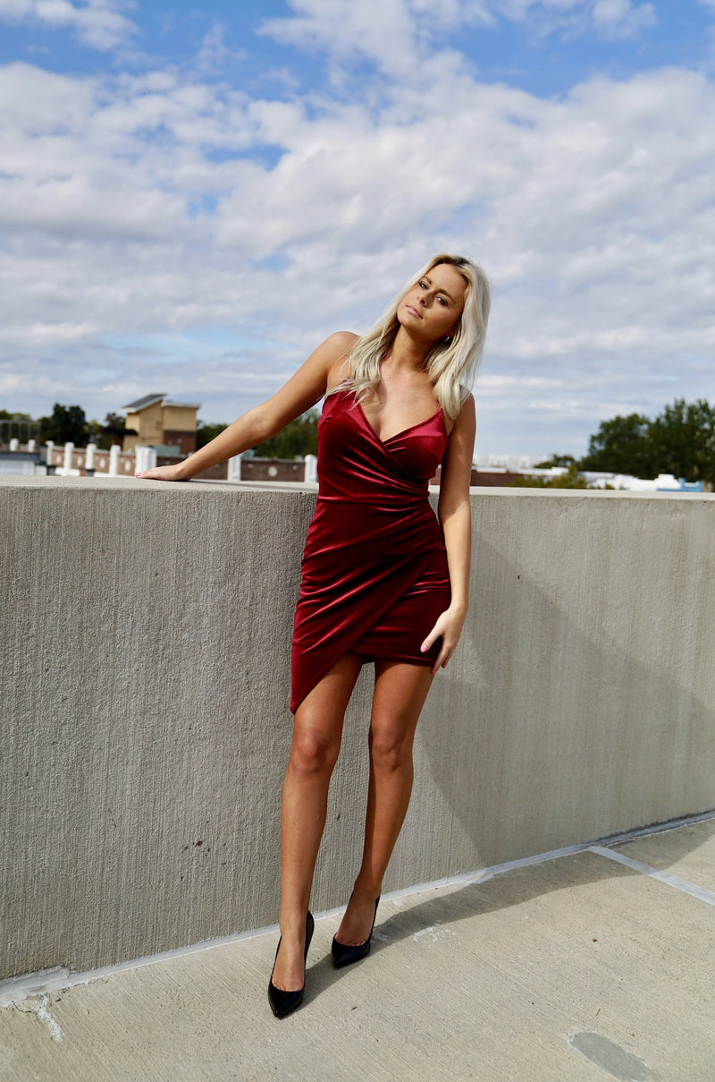 Velvet Crush Dress- Burgundy