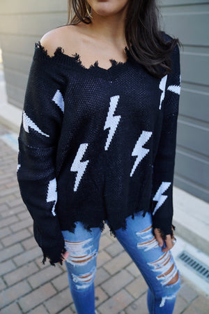 Thunder Bolt Distressed Sweater