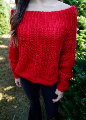 Fuzzy Luxe Sweater - Red