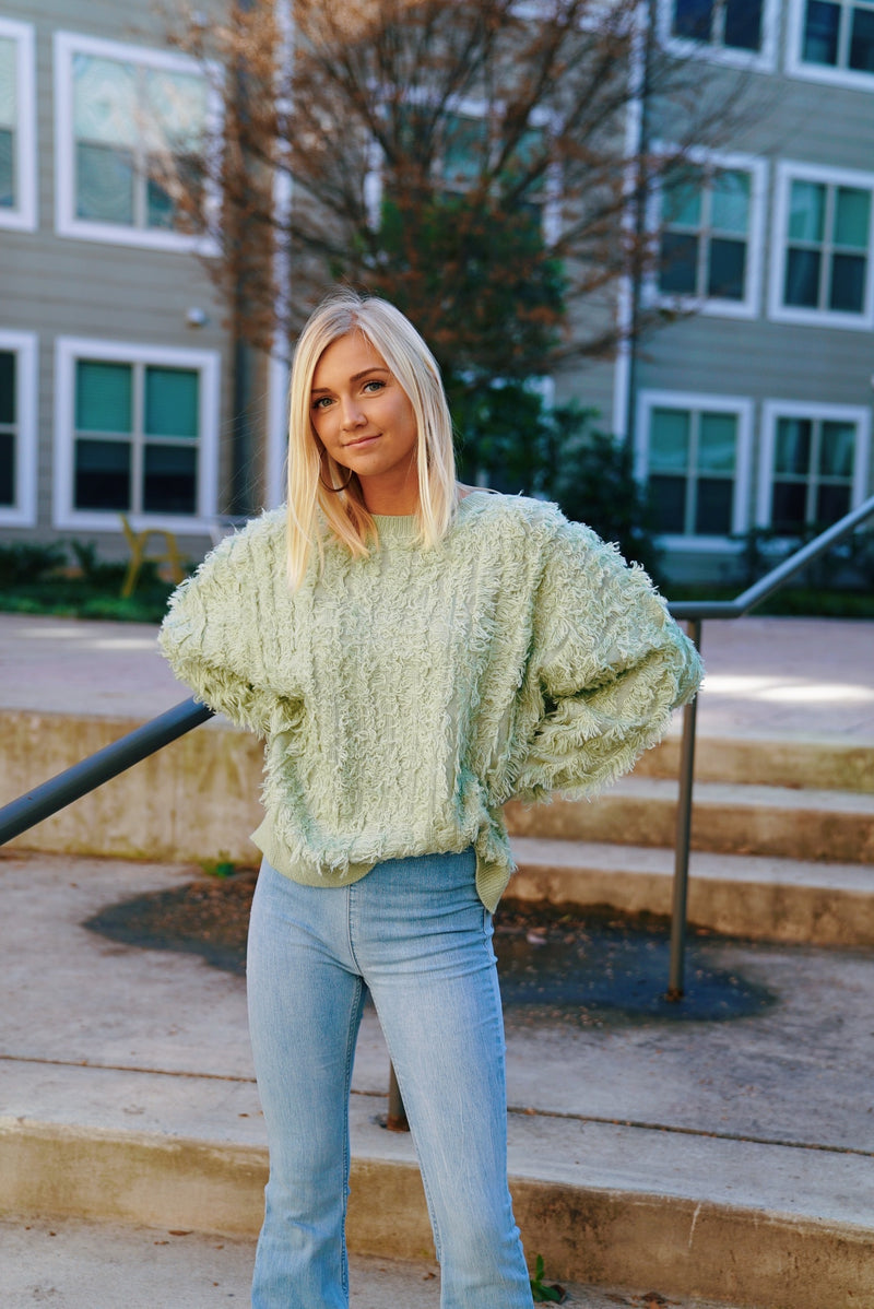 Textured Fuzzy Sweater - Sage