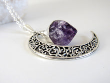 Load image into Gallery viewer, Amethyst Crescent Moon Necklaces (silver)