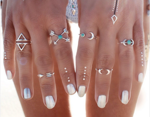 (On Sale!) Arrow and Moon Ring Set (6pc)