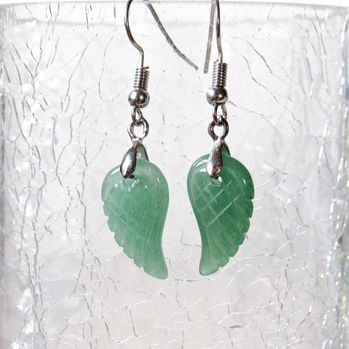 Mini Aventurine Angel Wing Earrings