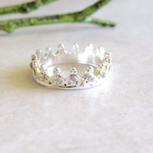Load image into Gallery viewer, Silver Jeweled Crown Rings