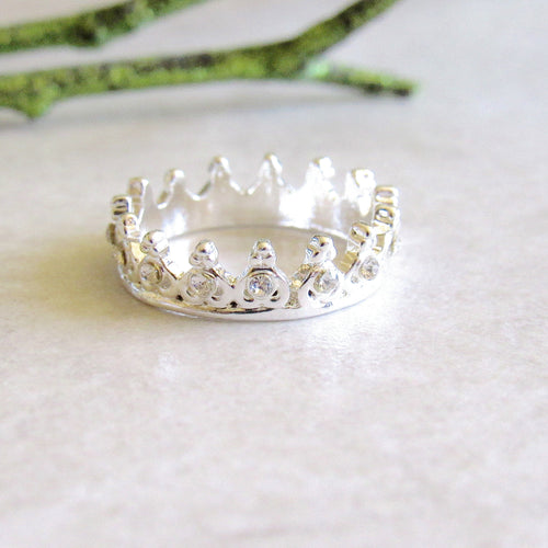 Silver Jeweled Crown Rings