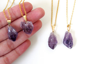 Gold Amethyst Point Necklaces