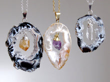 Load image into Gallery viewer, Dangling Citrine Point Geode Necklaces