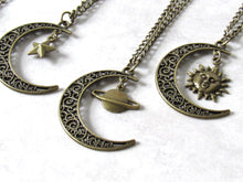 Load image into Gallery viewer, Bronze Crescent Moon Charm Necklace
