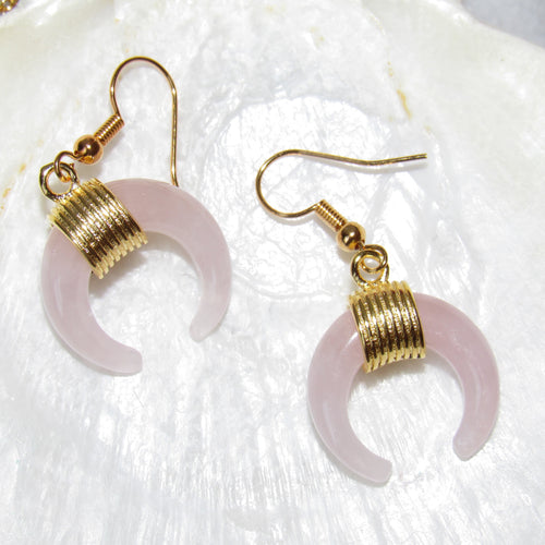 Golden Rose Quartz Moon Earrings