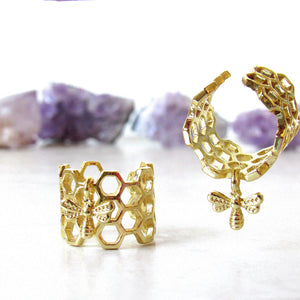 Golden Honeycomb & Bee Rings