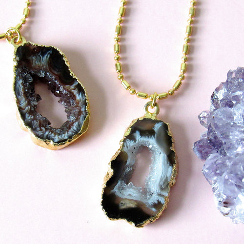 Gold Dipped Geode Slice Chokers