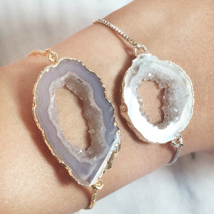 (New!) Geode Slice Bracelets (Gold or Silver)
