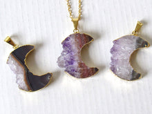 Load image into Gallery viewer, Gold Crescent Moon Amethyst Slice Necklaces