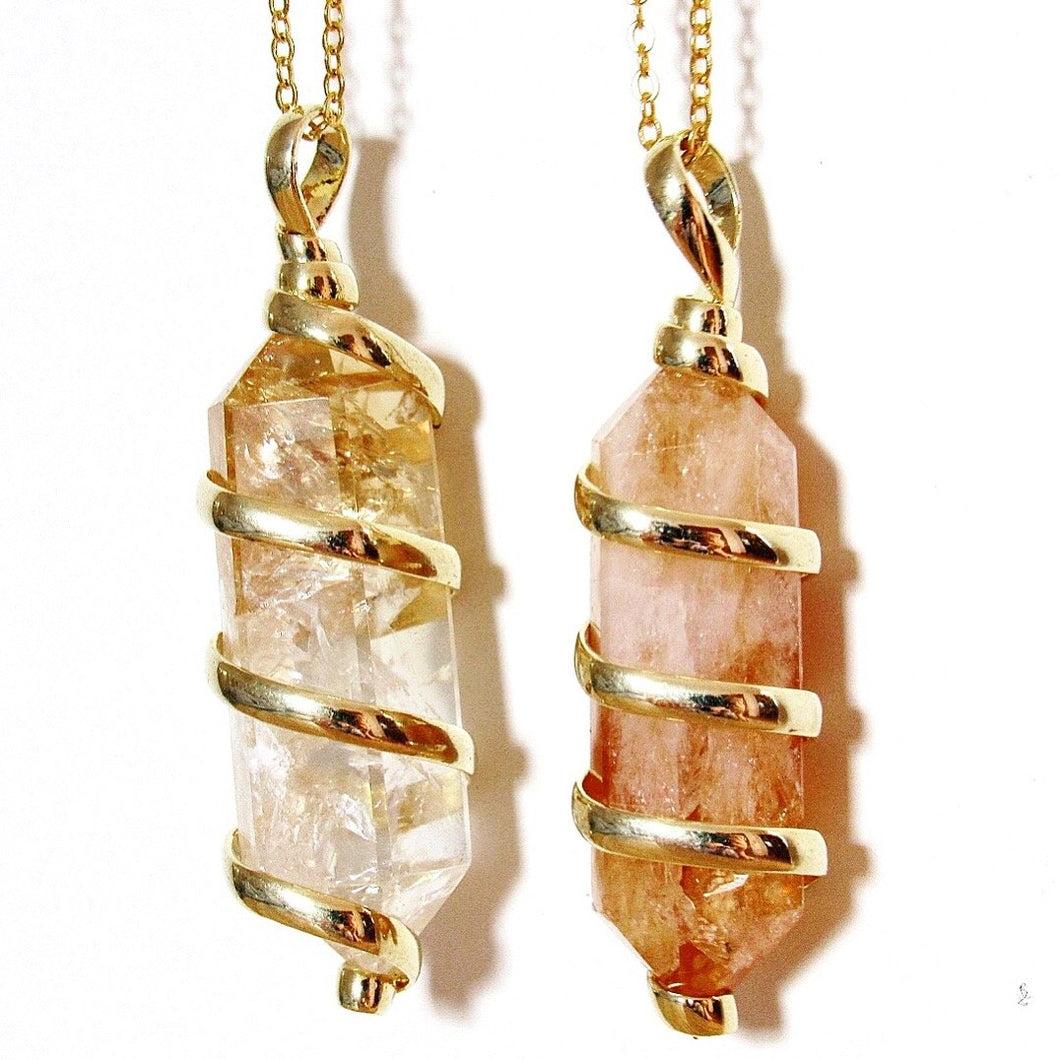 (New!) Gold Wrapped Citrine Necklaces