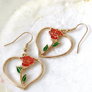 Everlasting Rose Stem Earrings