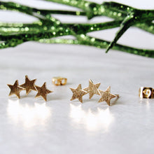 Load image into Gallery viewer, Gold Triple Star Earrings