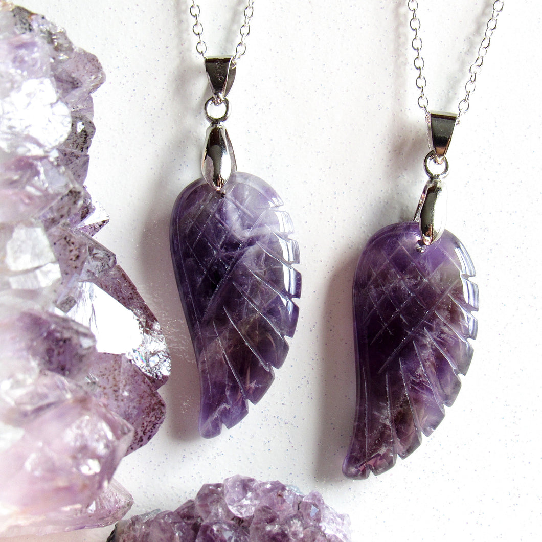 Amethyst Angel Wing Necklaces