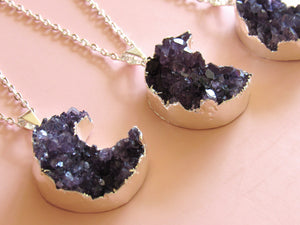 Silver Amethyst Cluster Moon Necklaces