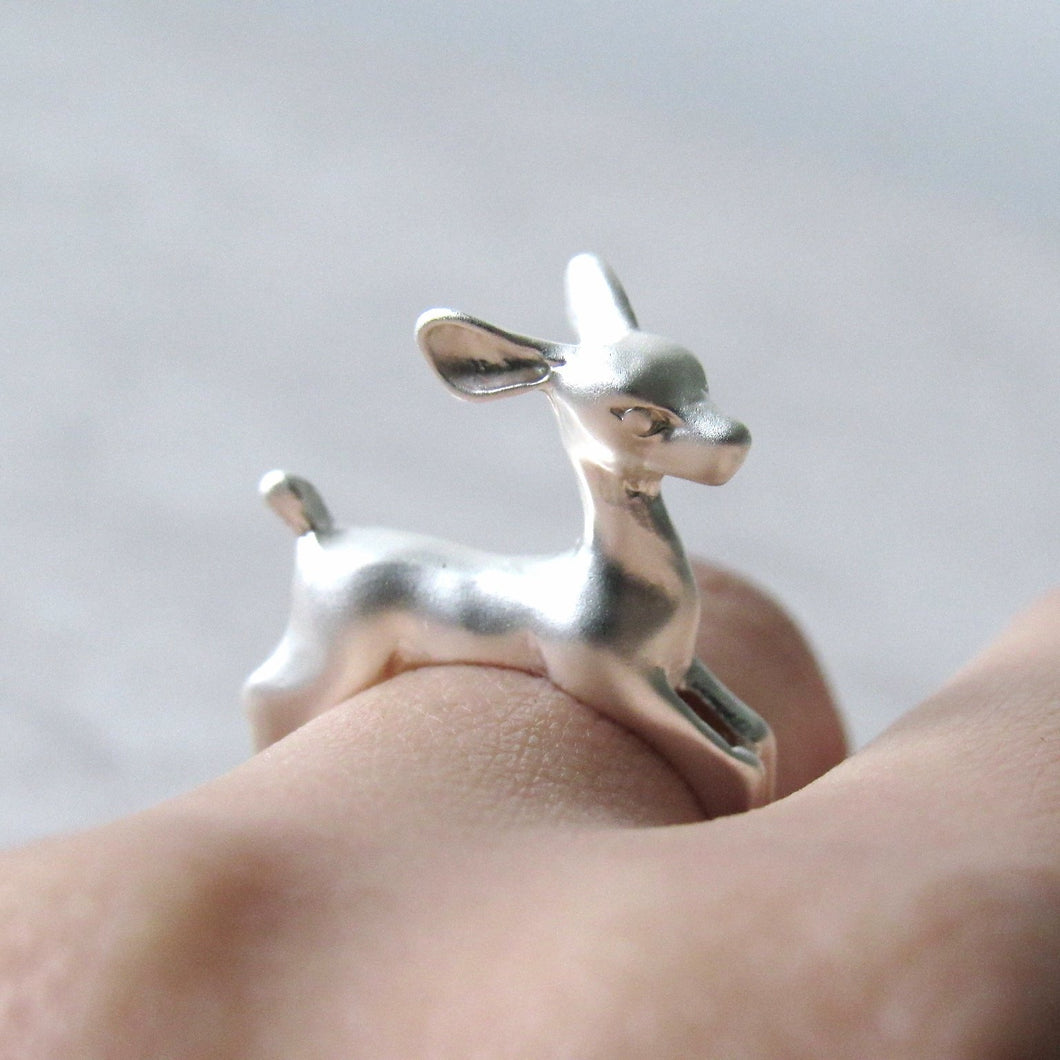 Silver Running Deer Ring