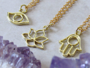 Lotus | Hamsa | Eye Charm Necklaces