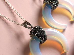 Opalite Crescent Moon Necklaces