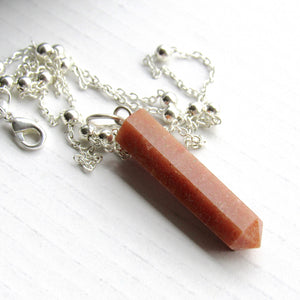 (On Sale!) Red Aventurine Silver Bulb Necklaces
