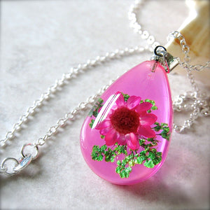 (On Sale!) Bubblegum Real Flower Necklaces