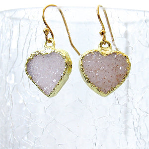 (On Sale!) Snow Druzy Heart Earrings