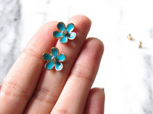 Load image into Gallery viewer, Enamel Blue Floral Earrings