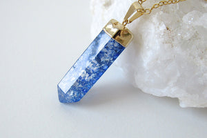 Aqua Cracked Quartz Point Necklaces