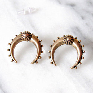 Antique Gold Crescent Moon Earrings