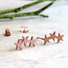 Load image into Gallery viewer, Rose Gold Triple Star Earrings