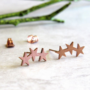 Rose Gold Triple Star Earrings