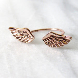 Rose Gold Angel Wing Rings