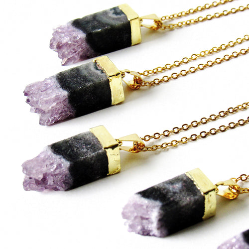 Cubical Amethyst Necklaces