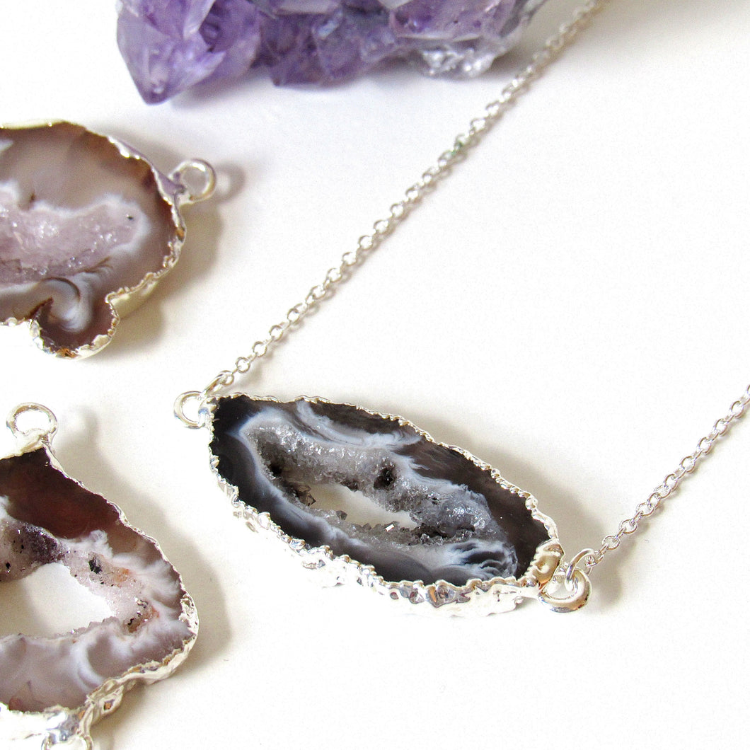 Silver Dipped Geode Slice Necklaces