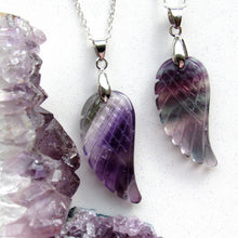 Load image into Gallery viewer, Rainbow Fluorite Angel Wing Necklaces