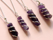 Load image into Gallery viewer, Silver Spun Amethyst Necklaces