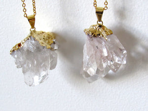 Golden Quartz Cluster Necklaces