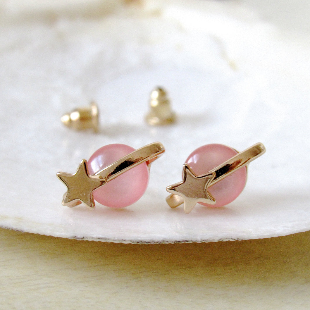 Pink Galactic Saturn Earrings